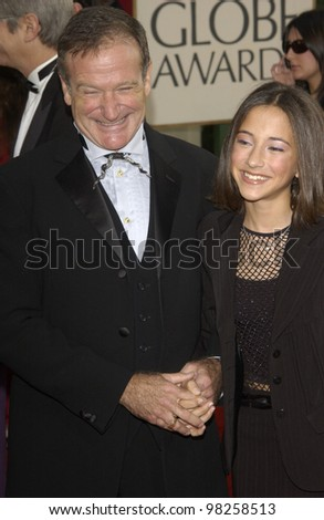 ROBIN WILLIAMS & daughter ZELDA at the Golden Globe Awards at the Beverly Hills Hilton Hotel. 19JAN2003.  Paul Smith / Featureflash - stock photo