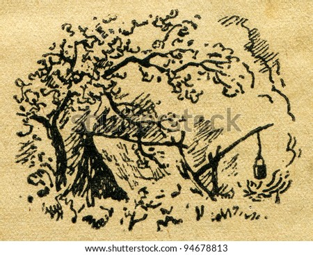 """Robinson howel with a campfire under a large tree - an illustration from the book """"In the wake of Robinson Crusoe"""", Moscow, USSR, 1946. Artist Petr Pastukhov - stock photo"""