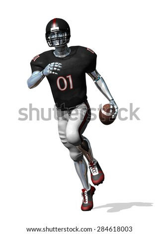 Robo-football - here's the solution to all of those football injuries - 3D render. - stock photo