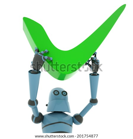 """Robot above head holding a sign """"accepted"""" , view from up close , 3d render - stock photo"""