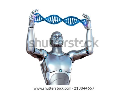 Robot and DNA - stock photo