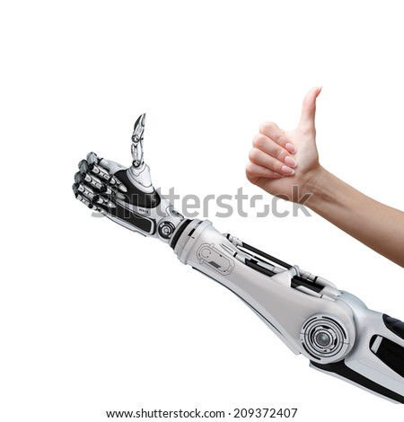Robot and human thumbs up - stock photo