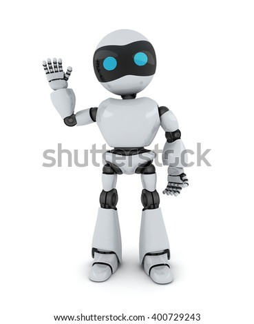 Robot and sign hi (done in 3d)   - stock photo