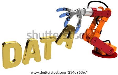 Robot arm automatic data storage and data center database technology - stock photo