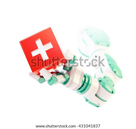 Robot arm holding a healthcare symbol - automation and robotics health services concept 3D illustration - stock photo