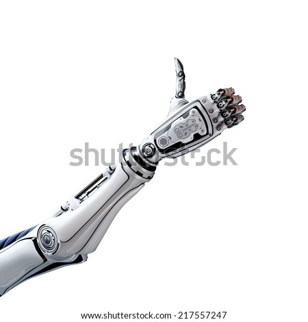 Robot arm with thumb up  - stock photo