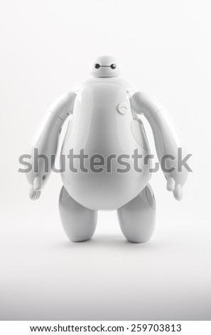 Robot BAYMAX from BIG HERO 6 Disney Movie, produced by Bandai #38700 #38701, 11 March 2015, in my studio, Povoa de Lanhoso  - stock photo