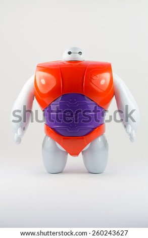 Robot BAYMAX from Disney Movie BIG HERO 6, produced by Bandai #38700 #38701, 11 March 2015, in my studio, Povoa de Lanhoso  - stock photo