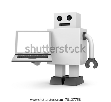 Robot businessman with notebook - stock photo