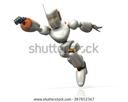 Robot catches someone. It jumping toward the enemy.  computer generated image  - stock photo