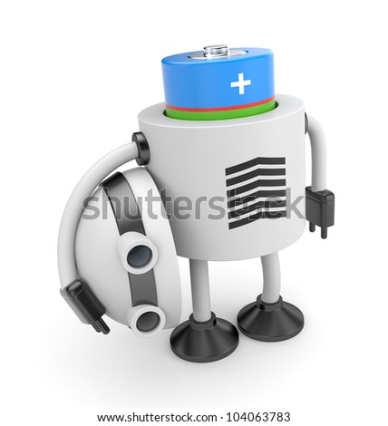 Robot changes battery - stock photo