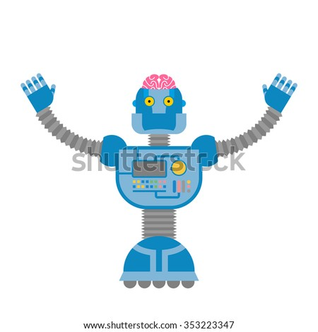 Robot. Cybernetic mechanism with  human brain. Clever cyborg. - stock photo