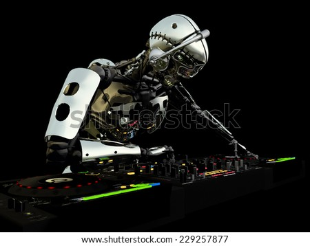 Robot DJ - A robot DJ spinning CDs and mixing. Turntables and mixers. - stock photo