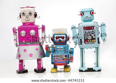 robot family - stock photo