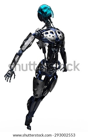 robot flying up - stock photo