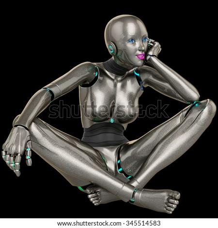 robot girl dreaming - stock photo