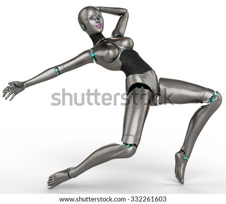 robot girl street dance - stock photo