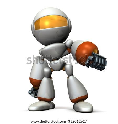 Robot glares while affectation. computer generated image - stock photo