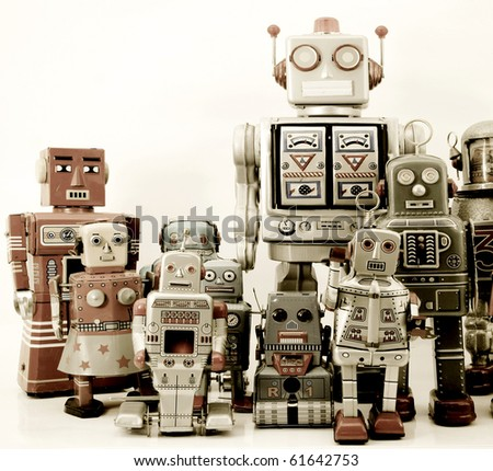 robot group - stock photo