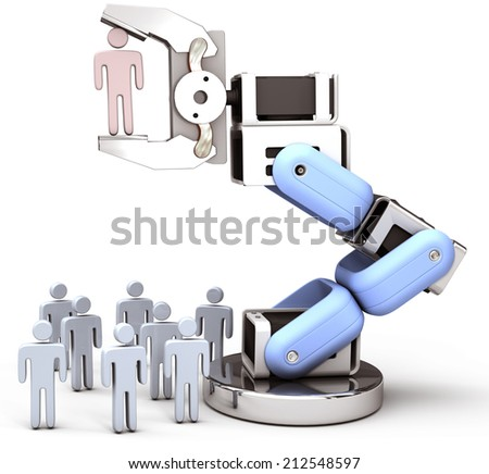 Robot hand chooses one Person in group of people HR decision - stock photo