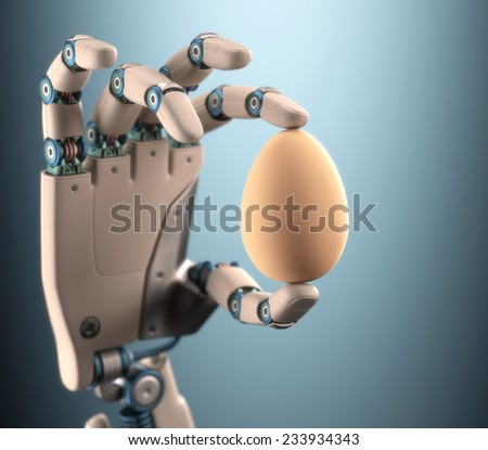 Robot hand holding a chicken egg. Clipping path on egg. - stock photo