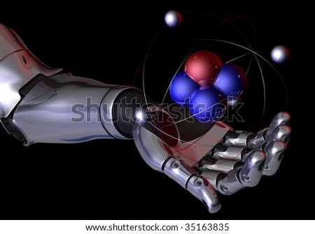 Robot hand holding an atom - stock photo