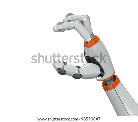 Robot hand holding an empty copy space - stock photo