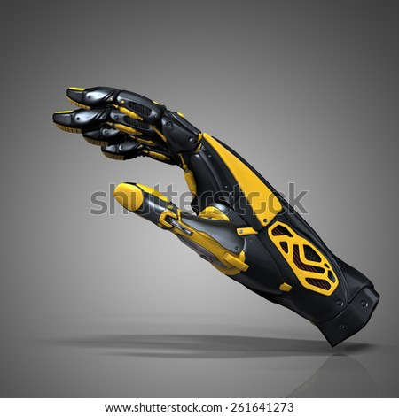 Robot hand on dark gray background. Design concept of artificial life. Cyborg android futuristic science. - stock photo