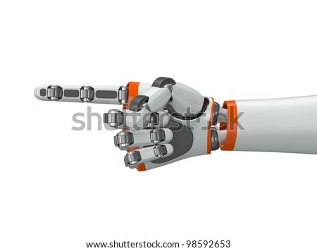 Robot hand pointing index finger - stock photo