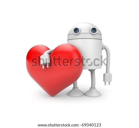 Robot heart - stock photo