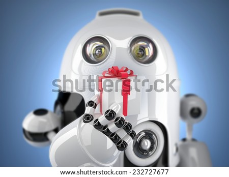 Robot holding gift box. 3d render with DOF effect. Technology concept - stock photo