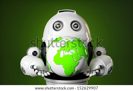 Robot holds earth globe. Technology concept - stock photo
