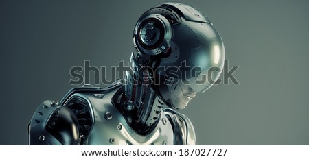Robot in helmet / 3d rendered robotic Girl in helmet - stock photo