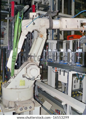 Robot in zero pose waiting for integration into the production line. - stock photo