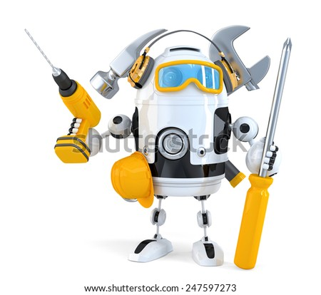 Robot - industrial worker concept. Isolated over white. Contains clipping path - stock photo