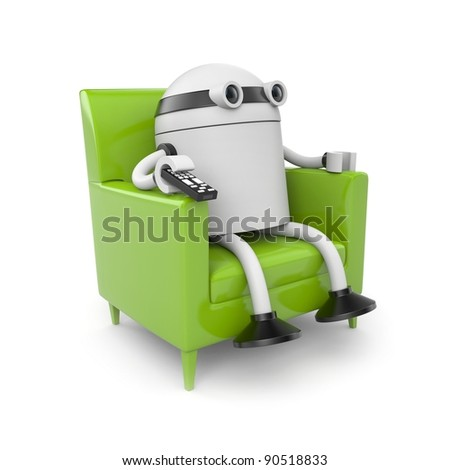 Robot is resting and watching tv - stock photo