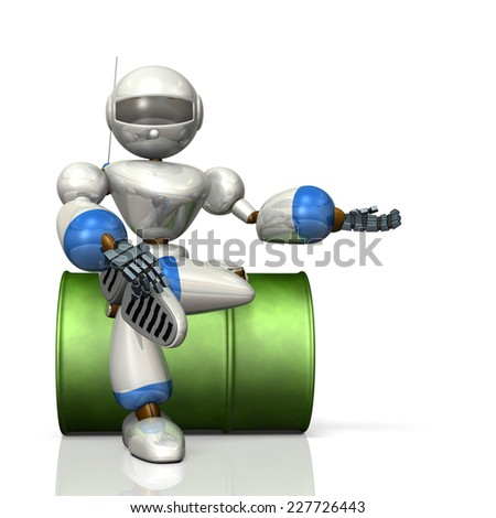 Robot is sitting on the drums. The robot  have to introduce to you. - stock photo