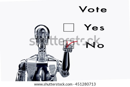 robot  is voting with a virtual click, 3d illustration - stock photo