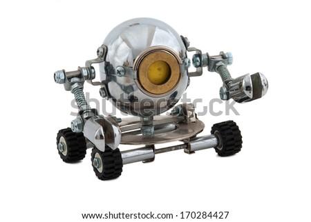 Robot isolated on white. - stock photo