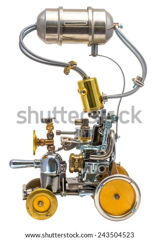 Robot isolated on white. Cyberpunk style. Bronze and steel parts. Retro. - stock photo