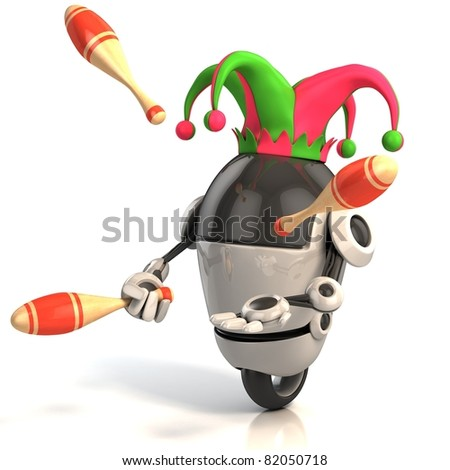 robot jester - entertainer - stock photo
