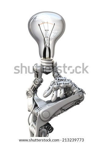 Robot keeps a  lamp.  Conceptual 3d illustration - stock photo