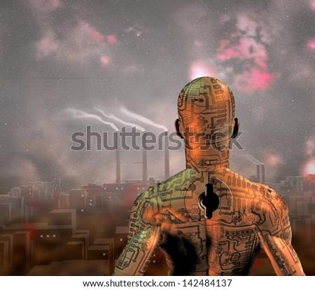 Robot Key - stock photo
