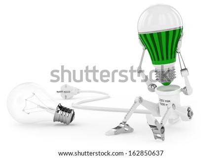 Robot lamp twist led lamp in head. - stock photo
