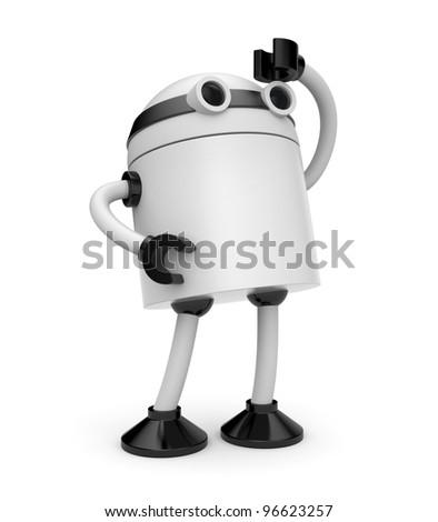 Robot looks forward - stock photo