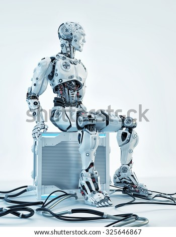 Robot resting on futuristic computer box after hard work as system administrator - stock photo