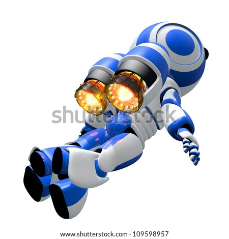Robot rocketeer flying toward the heavens with burning ignited jets. Inspirational image of discovery. - stock photo
