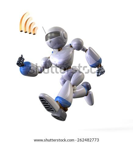 Robot runs while receiving radio waves. Low angle - stock photo