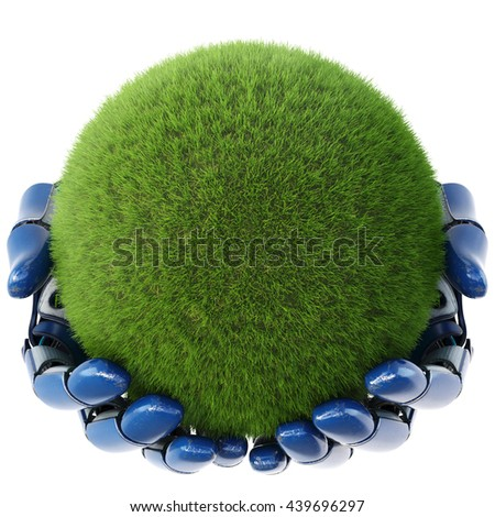 Robot's hand keeps a ball from green grass. isolated on white background. 3D illustration. - stock photo