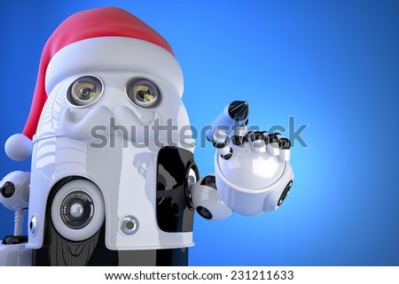 Robot Santa writes something with a pen. Contains clipping path - stock photo